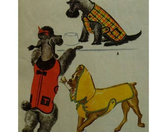 """1950s Dog Coats Pattern, Three Styles, Fits Four Sizes of Dogs, Monogram Initials, McCalls 2348 Fits 10-16"""" Dog ( Measured Along Spine)"""