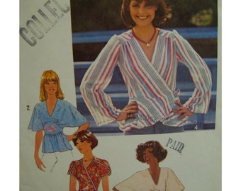 1970s Side Wrap Blouse Pattern, Pullover Top, V-neck, Batwing/Short/long Sleeves, Midriff Section/Peplum, Simplicity No. 7893 Size 12