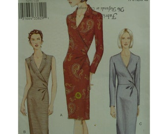 Mock Wrap Dress Pattern, Shaped Collar, Fitted Bodice, Straight Skirt, Sleeveless/Long Sleeves, Vogue No. 7475 UNCUT Size 12 14 16