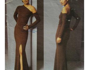 """Donna Karan Evening Gown Pattern, One Shoulder, Slinky, Front Slit, Long Sleeves, DKNY, Vogue American Designer No.2646  Size 8(Bust 31.5"""")"""