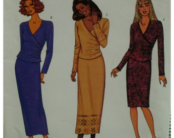 """Bias Wrap Top Pattern, V-Neck, Long Sleeves, Fitted Skirt, Long/Short, Butterick No. 3662 UNCUT Size 12 14 16 (Bust 34-38"""" 87-102cm)"""