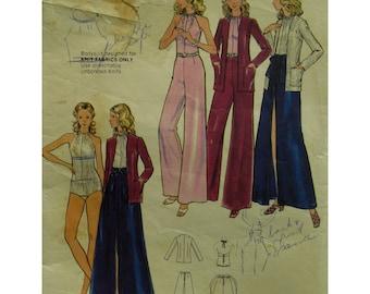Halter Body Suit Pattern, Fitted, Sleeveless, Wide Leg Pants, Long Slit Skirt, Cardigan, Evening Wear, Butterick No. 6896 Size 14