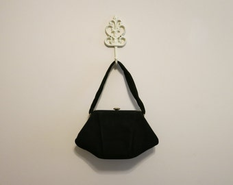 Handbag black suede 1950s baguette frame bag with mirror and coin purse