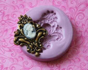 Fluer de Lis Cameo Silicone Mold Fondant Chocolate Resin Soap Polymer Clay Flexible Moulds