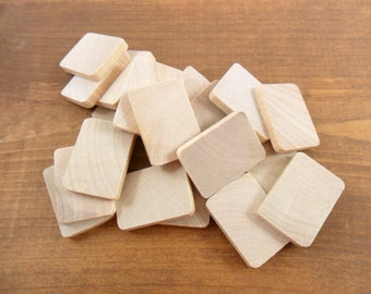 """35 Rectangles 1"""" x 1 3/8"""" x 3/16"""" Thick Unfinished Wood Shapes Rounded Corners"""