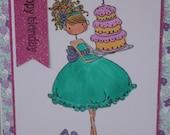 Birthday Card, Birthday Girl with Cake and Presents, Girlfriend Birthday Card, Stamping Bella Design