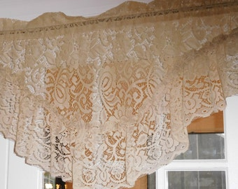 Free Shipping..Vintage Victorian Champagne Lace Valance 7 Inch Ruffle