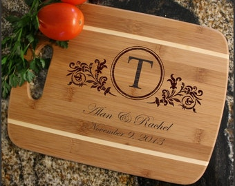 Personalized Cheese Board, Custom Engraved Bamboo Cutting Board, Personalized Wedding Gift, Anniversary, Housewarming Gift-Thin Stripe D15