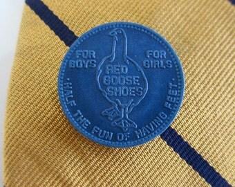 Red Goose Shoes Tie Tack - 1930's Repurposed Advertising Token / Premium