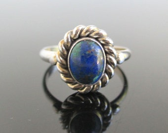 925 Sterling Silver & Blue Green Marbled Stone Ring - Chrysocolla, Size 7