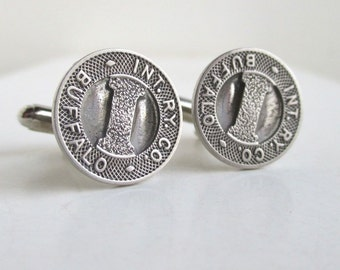 BUFFALO, NY Railroad Token Cuff Links - Silver, Vintage Repurposed Coins