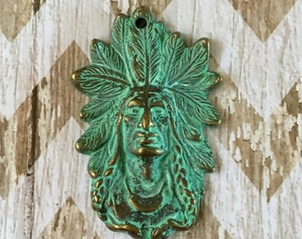 Indian Chief Pendant Patina Turquoise GREEN over Gold Pewter Pendant