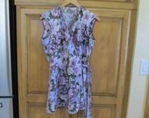 Vintage Purple Floral Cotton Cobbler Coverall Side Tie Apron with Rick Rack Trim