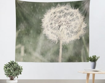 Wall Hanging - Dandelion - Tapestry - Girlfriend Gift - Gift - Shabby Chic - Green - White Flower - Ethereal - Wall Tapestry - Nature