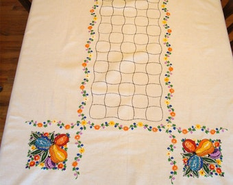 Antique Embroidered Royal Society Linen Kitchen Tablecloth 52 x 64 Arts and Crafts Mission Gorgeous!