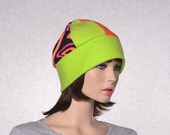 Neon Beanie Hat 6 Panel in Green Orange and Prints Unisex Adult Men Women Warm Winter Cap Patchwork Fleece Hat