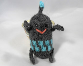 Hand Knit Robot. Gray and Blue Space Robot. Space Toy. Knit Android. Pretend Play. Ready To Ship. Gifts Under 10.