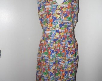 50% OFF SALE Vintage Conversation Piece Team Spirit Dress/Sz Large