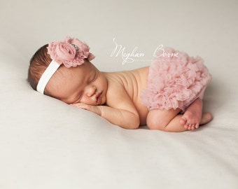 Baby Bloomer Set, Dusty Rose Chiffon Ruffle Bloomer and Headband, Vintage Pink Bloomer, Photo Prop Set, Newborn Bloomer, Ruffle Diaper Cover