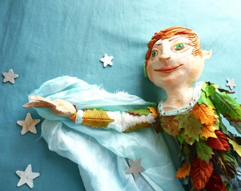 Peter Pan Art Doll, One of Kind Art Doll, Paperclay and Cloth Doll
