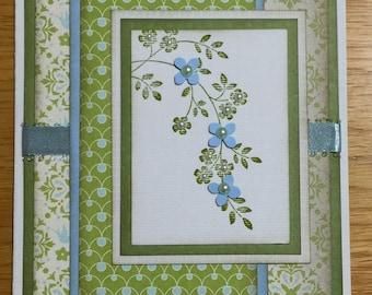 Blue and Green Flower Handmade Card