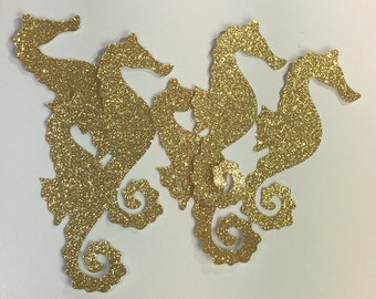 Large Gold Seahorse Decorations, Large Seahorse Die Cut, Seahorse Decoration, Beach Wedding Decor, Luau Decorations, Under the Sea Party
