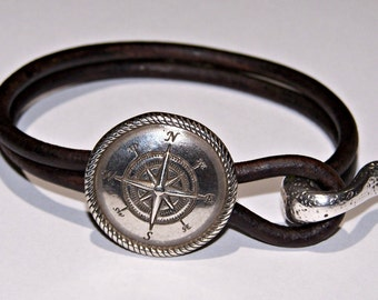 Compass Distressed Brown Leather Bracelet - Mens - Womens - Hammered Silver - Traveler - Free Spirit
