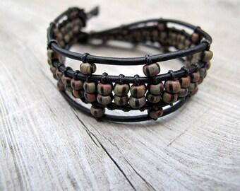 Bohemian Cuff,  Black Leather Bracelet, Czech Seed Beads, Bohemian Bijoux, Boho Chic, Tribal Hippie, Festival Fashion, Gypsy Biker Style
