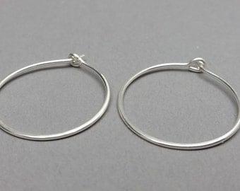 Medium Sterling Silver Hoops, 1 inch Hoops, Minimalist Earrings, Classic Earrings