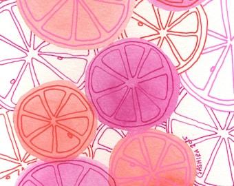 Fruit Art - Kitchen Art - Kitchen Decor - Fruit Wall Art - Kitchen Wall Art - Pink Decor - Pink Wall Art - Citrus Art - Grapefruit Wall Art