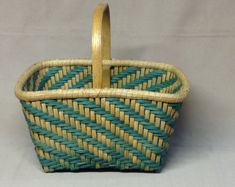 Hand Woven Square Basket, Twill Design in Teal, Sturdy Wood Handle