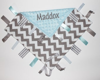 PERSONALIZED Ribbon Tag Blanket, Minky Baby Blanket, Baby Boy Blanket, Pacifier Clip, Gray Chevron and Light Blue, Large 16 x 16