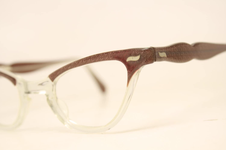 Glasses Frame Fading : NOS Red / Brown fade cat eye glasses vintage cateye frames
