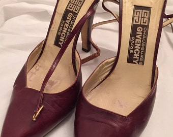 Vintage Chaussures Givenchy Paris Red Oxblood Leather Shoes Size 7.5 Couture!