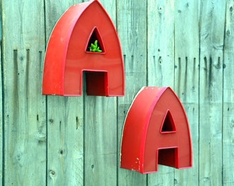 Vintage Marquee Sign Letter Capital 'A' in Unusual Font: Large Red Wall Hanging Initial -- Industrial Neon Channel Advertising Salvage