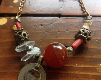 Coral, coin, crystal, carnelian metal necklace
