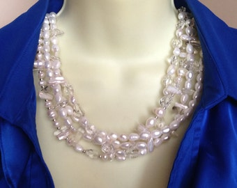 cons-EVER PEARLS. White pearl necklace, Keishi pearls, bridal, statement, big, bold, chunky, natural, multi-strand, silver, handmade, beaded
