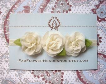 Ivory Flower Baby Headband - Newborn Headband - Ivory Flower Girl Headband - Baptism Headband - Christening Headband - Ivory Flower Crown