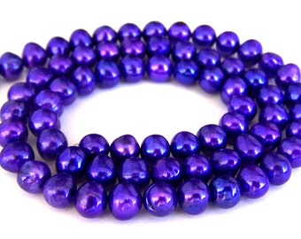 Purple violet freshwater pearls, 6mm, 16 inch strand, dark purple pearls, high luster purple