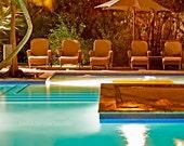 Swimming pool, Fine art photography, tropical wall art, water art, brown green blue wall decor, large wall art