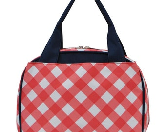 Lunch Bag Tote; Ruffled Lunch Bag; Embroidered Lunch Bag