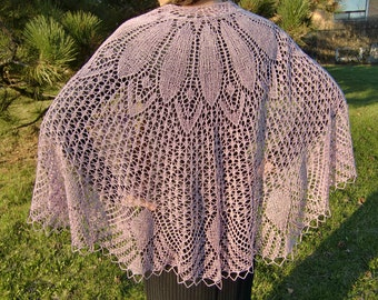 Dahlia Beaded Shawl, Semicircular