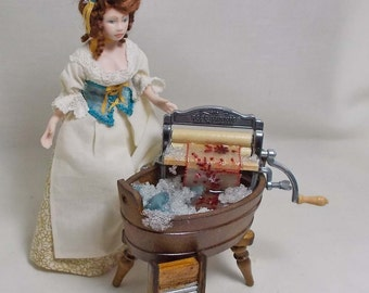 Dolls House Miniature Filled Wshtub and Mangle with soapy suds