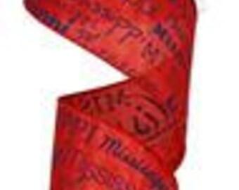 2.5 Inch Mississippi Ribbon RG196024, Red Royal Blue, College Ribbon, Sports Ribbon, Football Ribbon