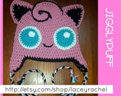 Jigglypuff Pokémon beanie with earflaps and braided cord
