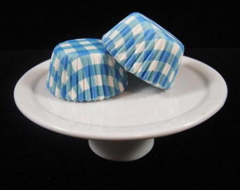 Blue Gingham Mini Cupcake Liners, Mini Baking Cups, Mini Muffin Papers, Mini Candy Paper, Cake Pop Papers, Truffle Cases  - QTY. 25