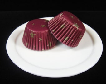 Burgundy w/Gold Stars Mini Cupcake Liners, Mini Baking Cups, Mini Muffin Papers, Cake Pop Papers, Truffle Cases - QTY. 25