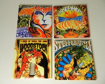 60's Vintage Concert Coasters Set Ceramic Drink Hippie Coasters Woodstock Set Four Concert Poster Coasters Sublimated