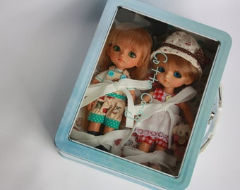 Tin Storage Box for Lati Yellow / PukiFee / or same size doll : Cotton Candy Blue