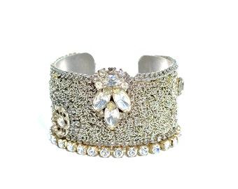 Rhinestone Cuff Bracelet, Vintage Art Deco, Bridal Jewelry by dabchickvintagegems on Etsy